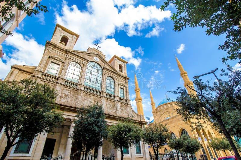 Chiesa e moschea a Beirut, Libano immagine stock