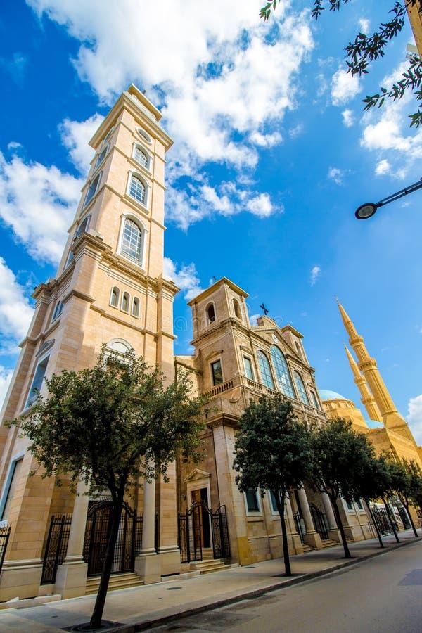 Chiesa e moschea a Beirut, Libano fotografia stock