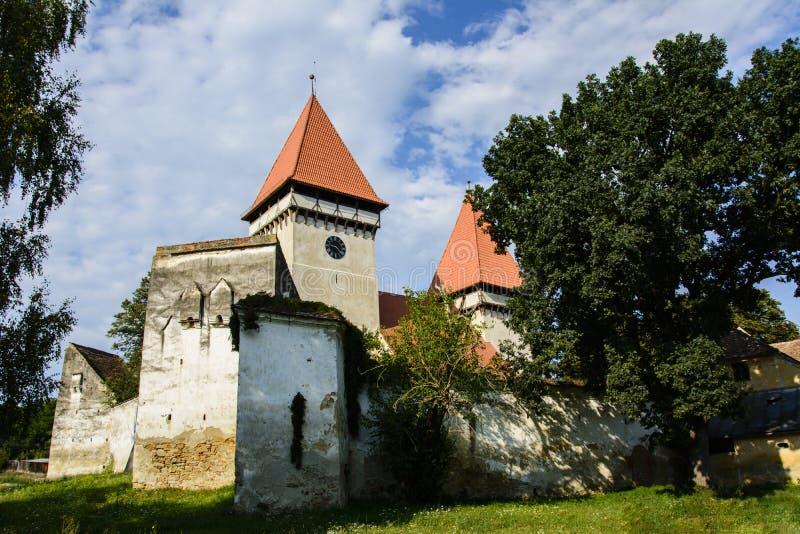 Chiesa evangelica fortificata da Dealu Frumos, la Transilvania, Romania fotografia stock libera da diritti