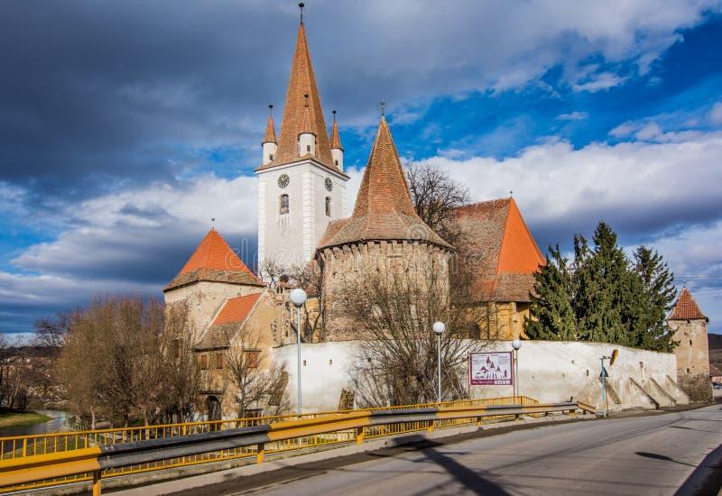 Chiesa fortificata di Cristian, Sibiu, Romania immagine stock libera da diritti