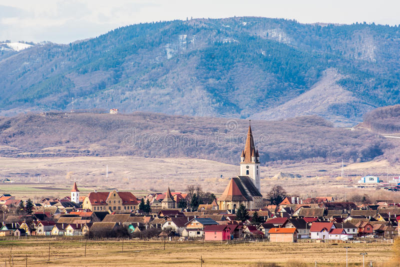 Chiesa fortificata di Cristian, Sibiu, Romania immagini stock