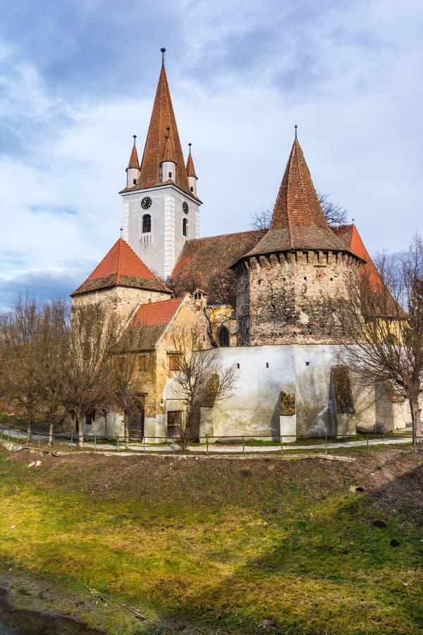 Chiesa fortificata di Cristian, Sibiu, Romania fotografia stock libera da diritti