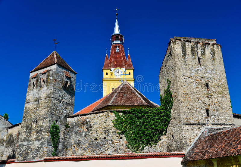 Chiesa fortificata in Transylvania fotografie stock