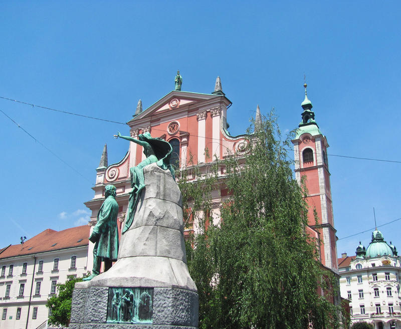 Chiesa francescana dell'annuncio sul quadrato Presernov Trg di Preseren in vecchia città fotografie stock libere da diritti