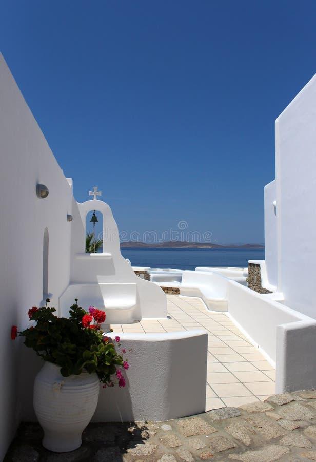 Chiesa greca tradizionale, Mykonos, Grecia fotografia stock libera da diritti