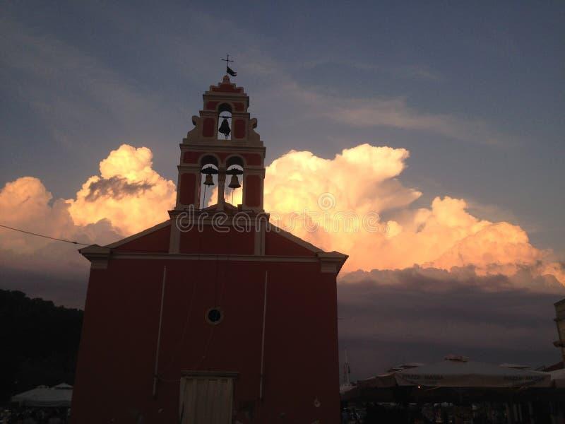 Chiesa Grecia della tempesta fotografie stock libere da diritti