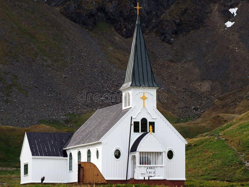Chiesa in Grytviken fotografia stock