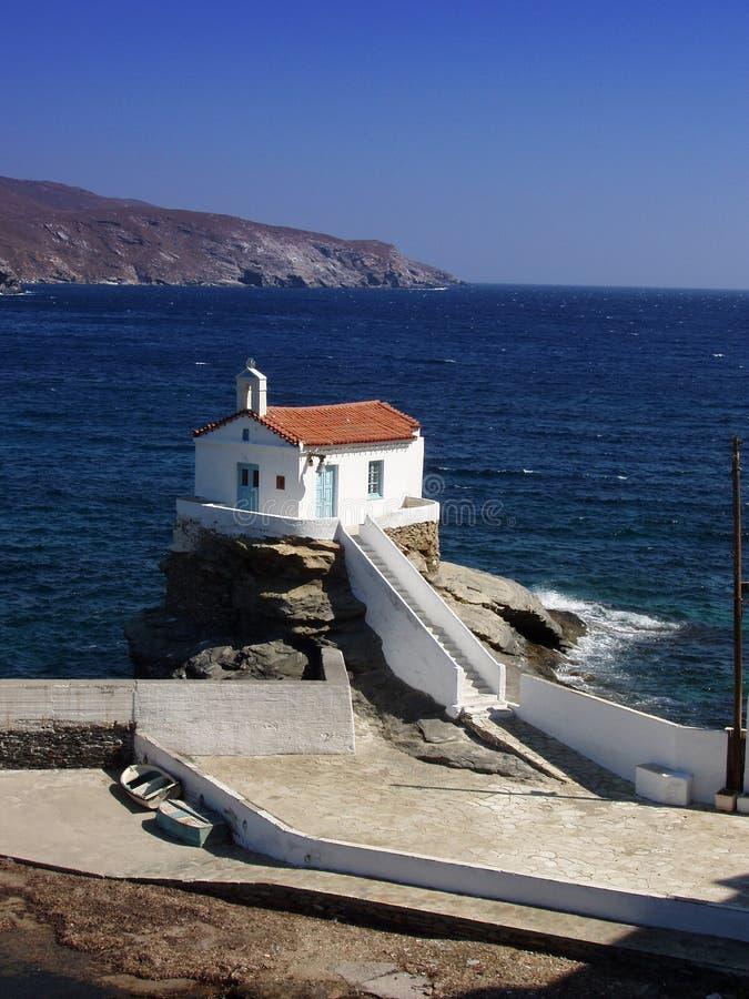 Chiesa - isola di Andros, Grecia fotografia stock libera da diritti