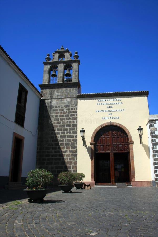 Chiesa in La Laguna in Tenerife, isnalds color giallo canarino immagine stock