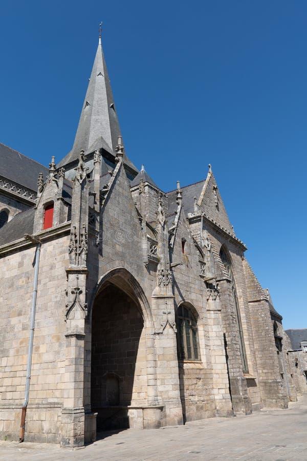 Chiesa medievale di Collegiale St Aubin Francia Guerande fotografia stock libera da diritti