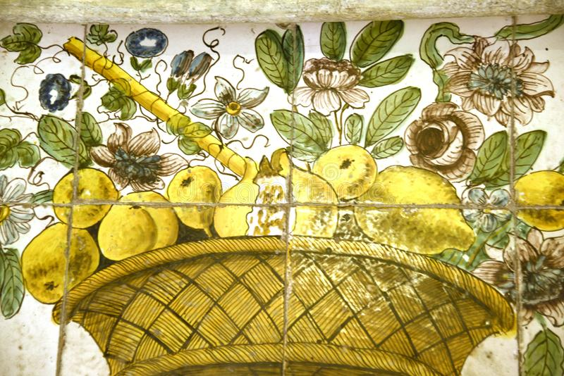 Detail from the expulsion from the Garden of Eden in Capri Church. The Chiesa Monumentale di San Michele. Dedicated to Saint Michael, this church was built from royalty free stock photography