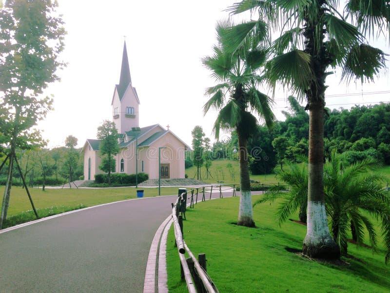 Chiesa nel parco della zona umida del fiume di ZiGong FuXi fotografie stock libere da diritti
