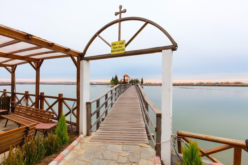 Chiesa, Oporto Lagos, lago Vistonida, prefettura di Xanthi, la Tracia, Grecia immagine stock
