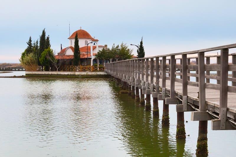 Chiesa, Oporto Lagos, lago Vistonida, prefettura di Xanthi, la Tracia, Grecia immagini stock libere da diritti