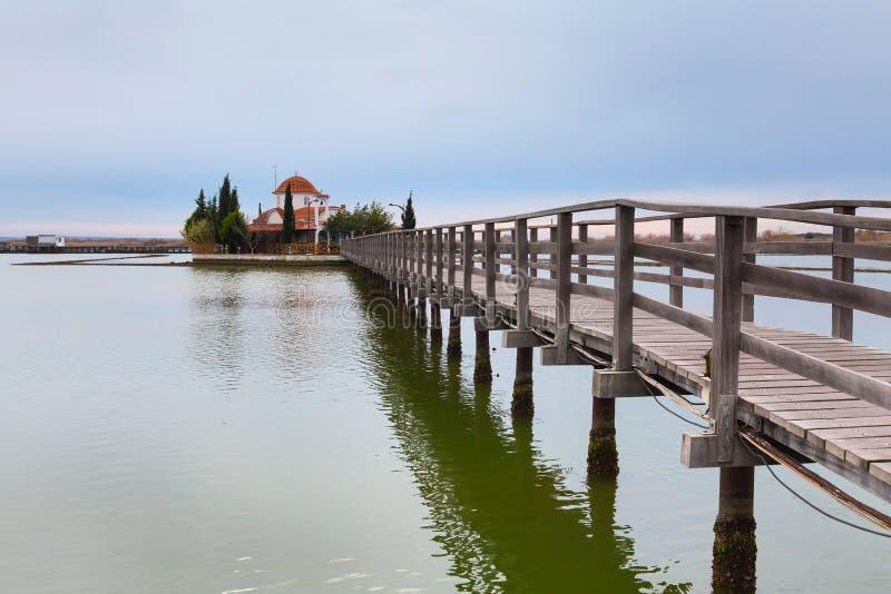 Chiesa, Oporto Lagos, lago Vistonida, prefettura di Xanthi, la Tracia, Grecia fotografia stock