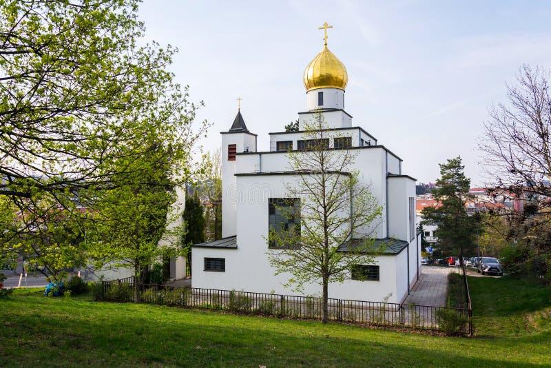 Chiesa ortodossa della st Wenceslas, Brno, Moravia, repubblica Ceca, giorno soleggiato, chiaro cielo blu fotografie stock libere da diritti