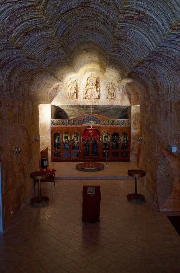 Chiesa ortodossa serba sotterranea in Coober Pedy fotografia stock