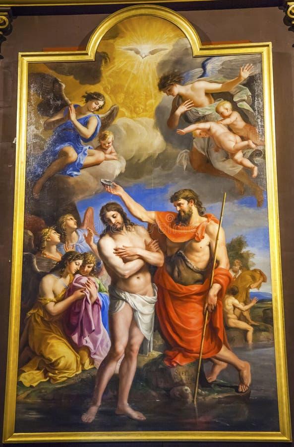 Chiesa Parigi Francia di Jesus Painting Saint Louis En L'ile di battesimo fotografia stock libera da diritti