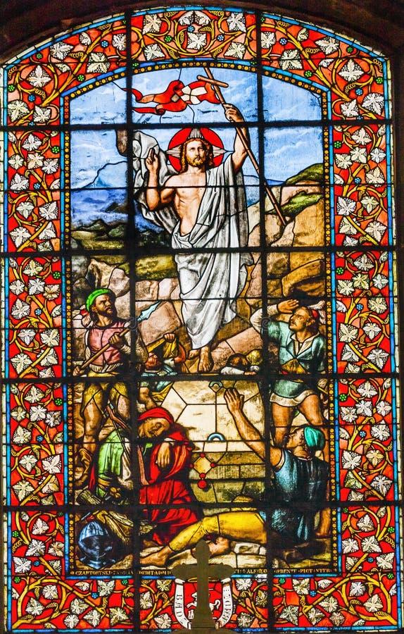 Chiesa Parigi Francia di Jesus Ressurection Stained Glass Saint Louis En L'ile fotografia stock