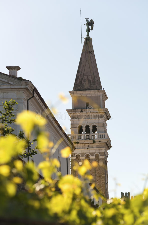Chiesa in Piran- Slovenia immagine stock libera da diritti