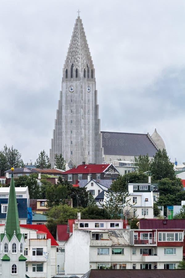 Chiesa Reykjavik Islanda di Hallgrimskirkja fotografie stock libere da diritti