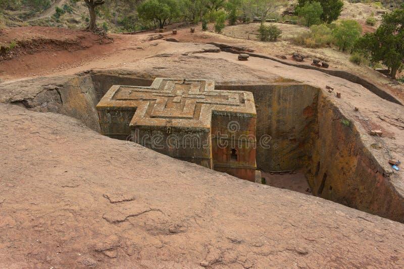 Chiesa roccia-spaccata monolitica unica di St George, patrimonio mondiale dell'Unesco, Lalibela, Etiopia immagine stock
