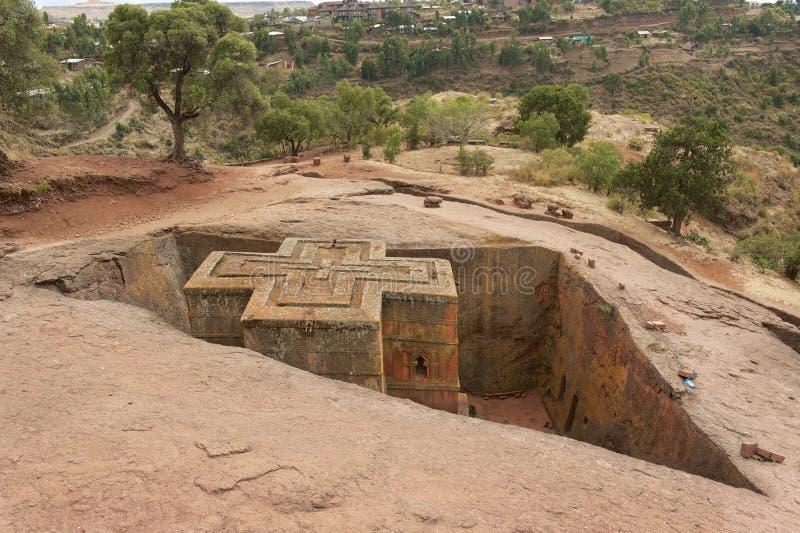 Chiesa roccia-spaccata monolitica unica di St George, patrimonio mondiale dell'Unesco, Lalibela, Etiopia fotografia stock libera da diritti