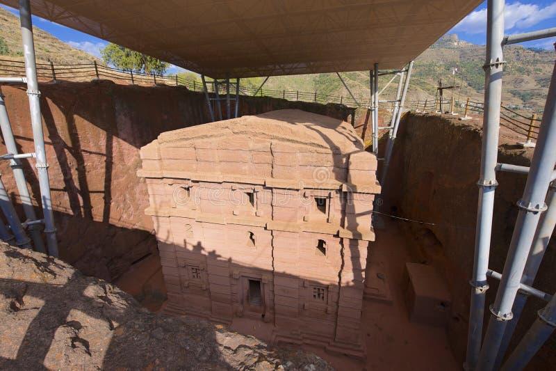 Chiesa roccia-spaccata monolitica unica, Lalibela, Etiopia Luogo del patrimonio mondiale dell'Unesco fotografia stock libera da diritti
