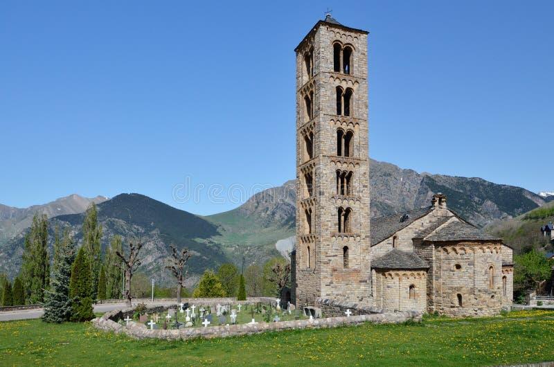 Chiesa romanica catalana del vall de Boi fotografie stock