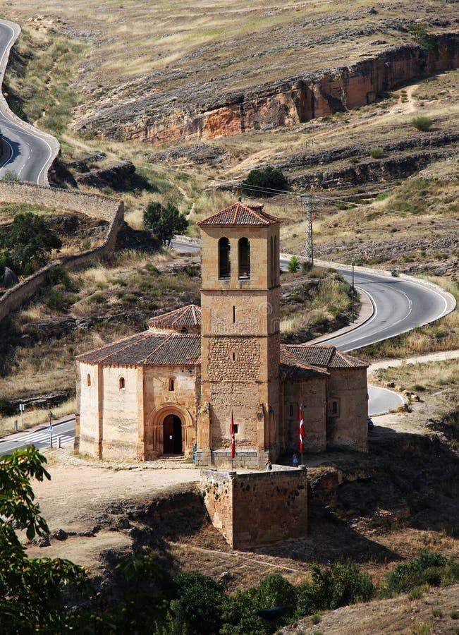 Chiesa romanica del cruz di vera, Segovia, spagna fotografia stock