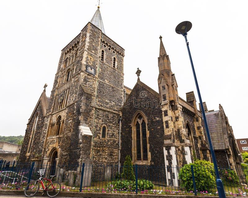 Chiesa rumena del XII secolo di stile di St Mary il vergine, Dover, Regno Unito fotografie stock libere da diritti