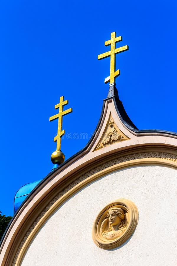 Chiesa russa nella città cattivo SME, Germania della stazione termale fotografia stock
