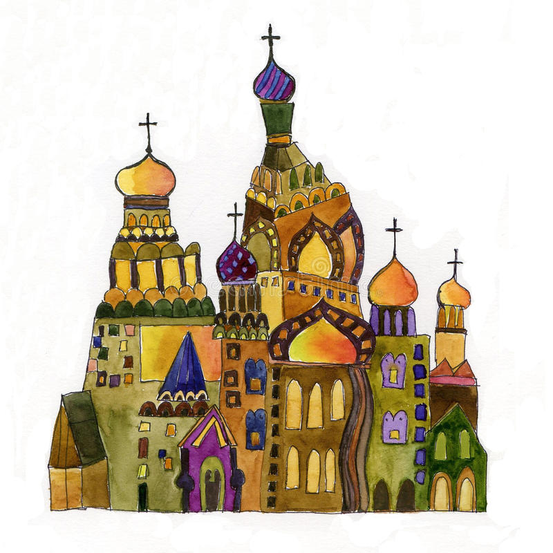 Chiesa russa su priorità bassa bianca fotografia stock libera da diritti