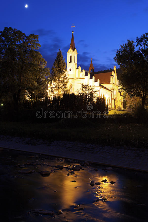 Chiesa in Rymanow Zdroj immagine stock
