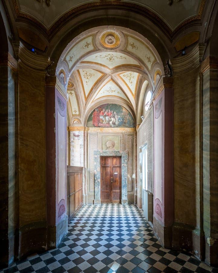 Chiesa Saint Charles vicino alle quattro fontane, lavoro del ` s di Borromini, Roma di Quattro Fontane del alle di San Carlo immagine stock libera da diritti