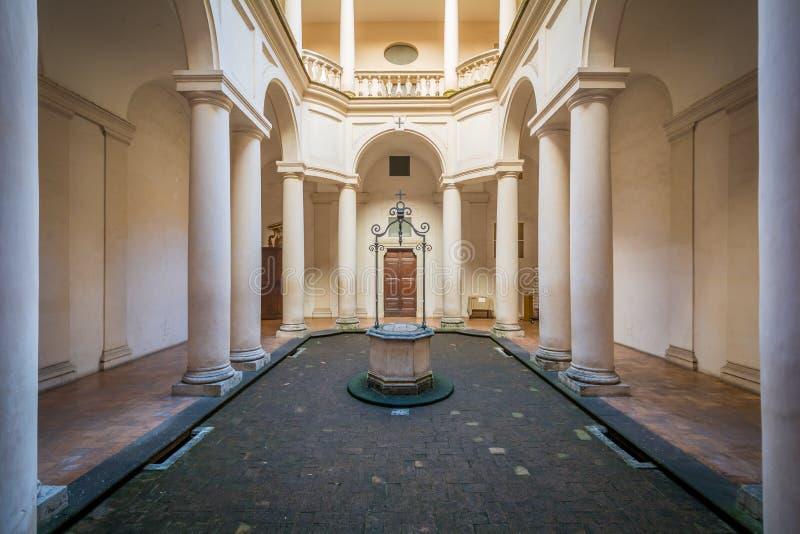 Chiesa Saint Charles vicino alle quattro fontane, lavoro del ` s di Borromini, Roma di Quattro Fontane del alle di San Carlo fotografia stock libera da diritti