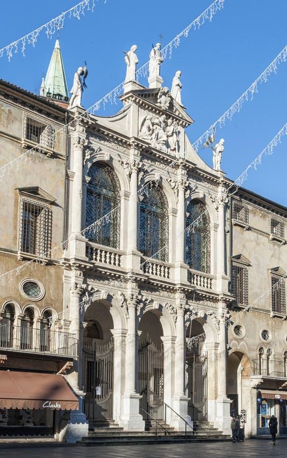 Chiesa San Vincenzo in den zentralen Marktplatz dei Signori in Vicenza, Italien lizenzfreie stockfotos