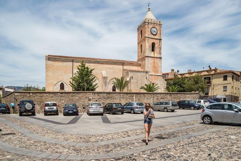 Chiesa Santa Maria Maggiore Church in Oliena, Piazza S Maria, Sardinige, Italië stock afbeelding
