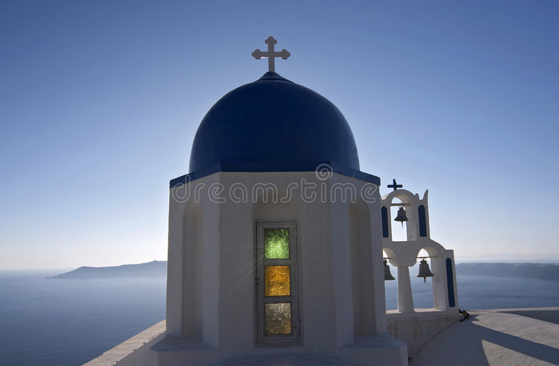 Chiesa a Santorini immagine stock libera da diritti