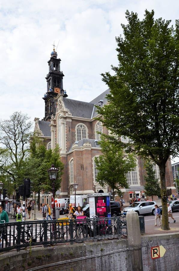 Chiesa storica nella città di Amsterdam fotografia stock