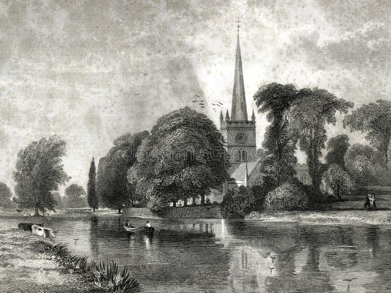 Chiesa a Stratford Burial Place dell'illustrazione di Shakespeare royalty illustrazione gratis