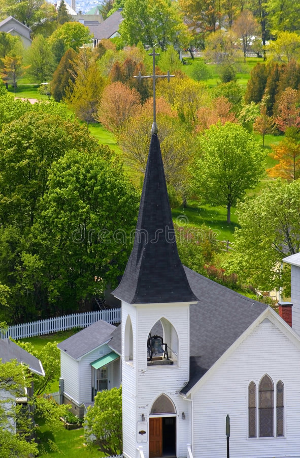 Chiesa su un'isola di Mackinac fotografie stock libere da diritti
