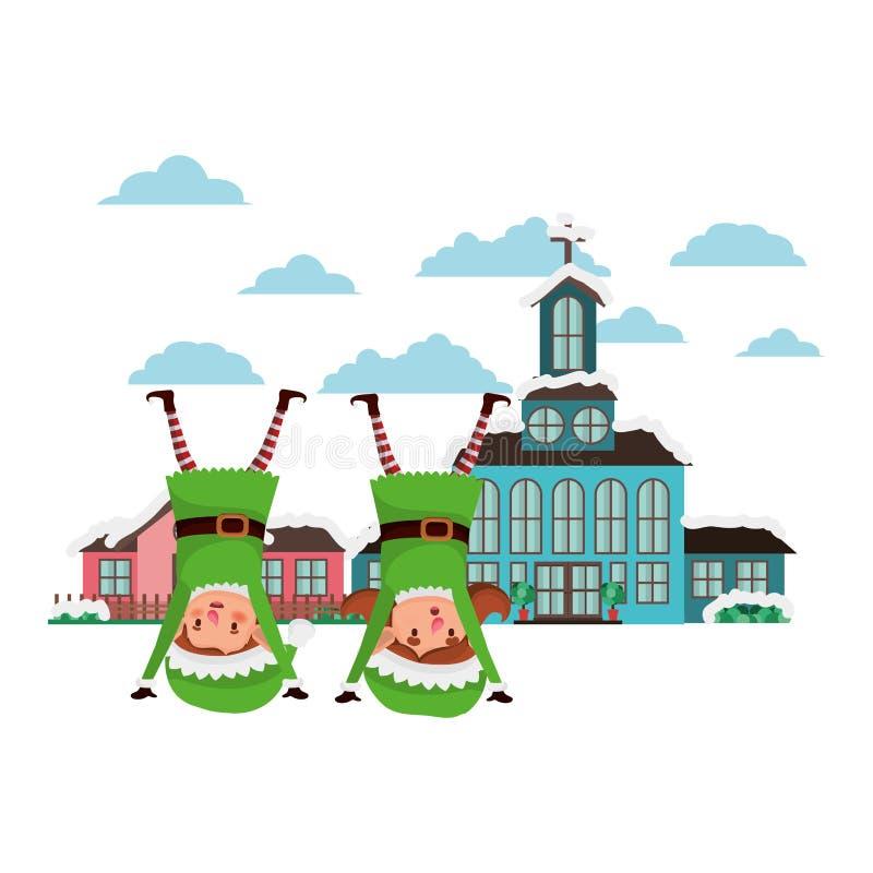 Chiesa in vicinanza e nelle coppie degli elfi royalty illustrazione gratis