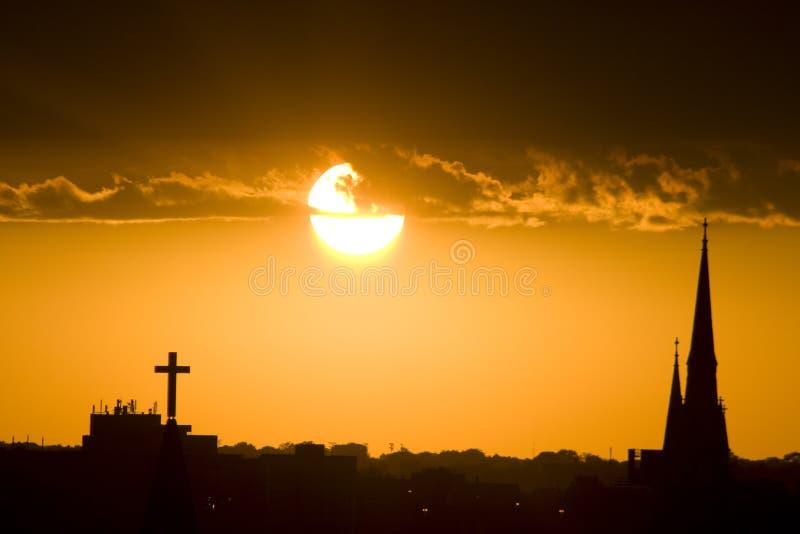 Chiese al tramonto fotografia stock libera da diritti