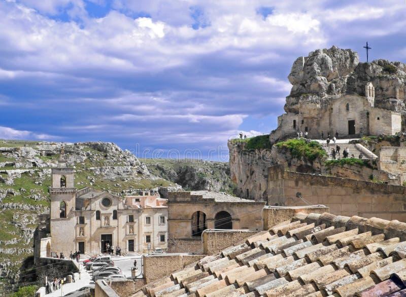 Chiese antiche in Sassi di Matera. La Basilicata. fotografia stock libera da diritti