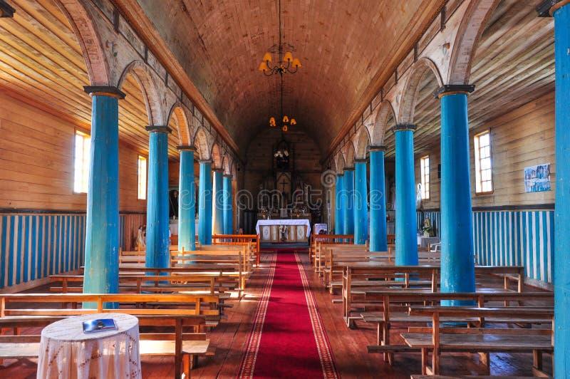 Chiese colorate e di legno splendide, isola di Chiloé, Cile fotografia stock libera da diritti