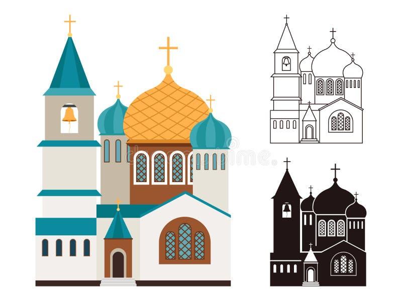Chiese cristiane piane ed icone lineari messe royalty illustrazione gratis