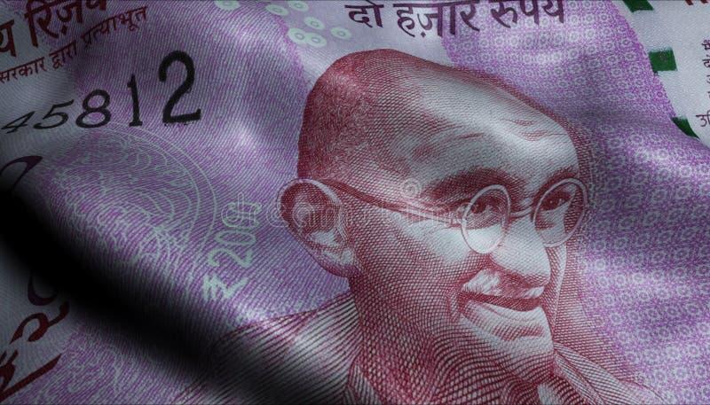 Chiffonné deux mille roupies de l'Inde de billet de banque de portrait de Mahatma Gandhi image libre de droits