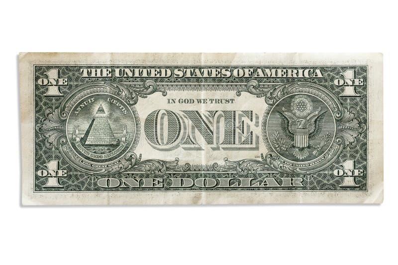 Chiffonné un dollar sur un fond blanc photo libre de droits