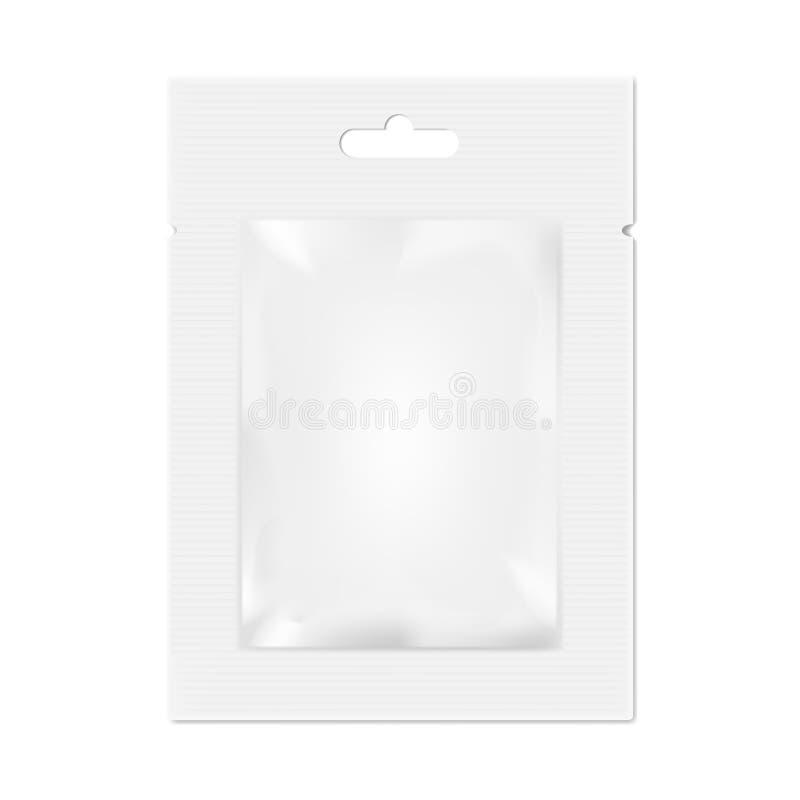 Chiffons d'aluminium vide réaliste ou sel humides, sucre, empaquetage d'espèces illustration de vecteur